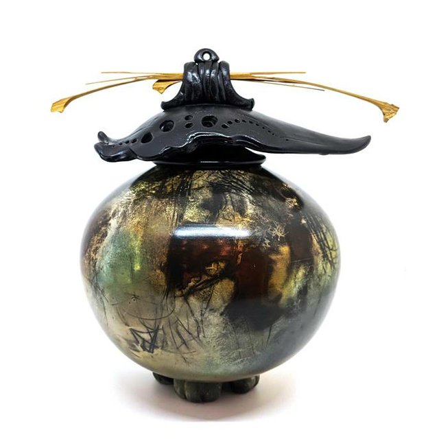 "Geoff Searle, ""Raku Round Vase with Top,"" 2020"