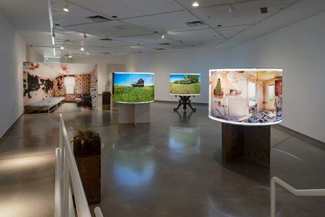 "Emily Neufeld, ""Prairie Invasions: A Lullaby,"" 2020, installation view at Richmond Art Gallery (photo by Michael Love)"
