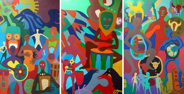 """Robert Burke, """"Drumming Men,"""" 2002"""