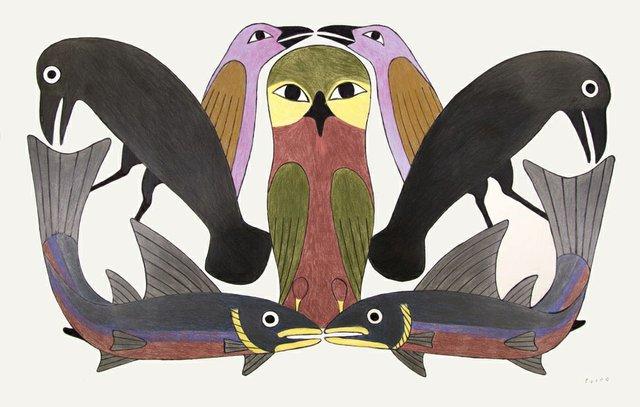"Kenojuak Ashevak, ""Owl's Consort,"" 2012"