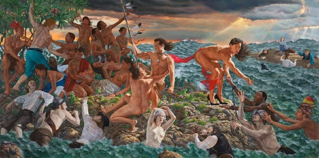 "Kent Monkman, (Cree, b. 1965). ""Welcoming the Newcomers,"" 2019"