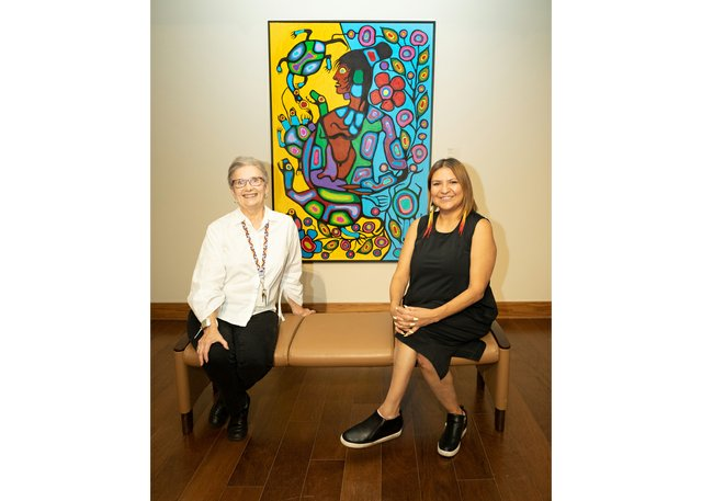 Leona Herzog (left), the director of the Buhler Gallery, poses with Daina Warren, the director of Urban Shaman Contemporary Aboriginal Art