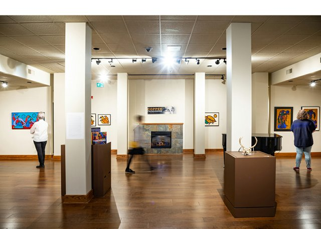 """Norval Morrisseau's exhibition """"Copper Thunderbird"""" is on view at the Buhler Gallery in Winnipeg's St. Boniface Hospital until Jan. 16. (photo by Leif Norman)"""