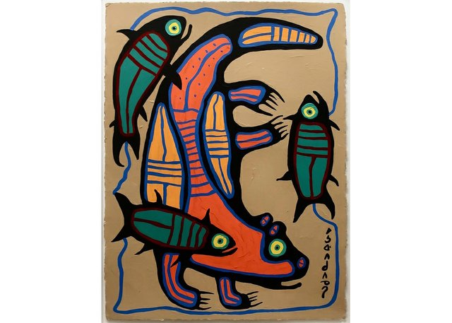 """Norval Morrisseau, """"Sea Otter Catching Salmon,"""" no date"""