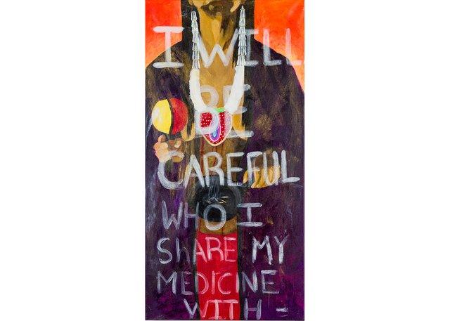 "Lana Whiskeyjack, ""Painting my anger, praying for stolen medicine(s),"" 2020"