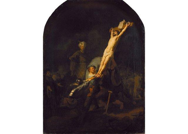 """Rembrandt (Harmensz. van Rijn), """"Die Kreuzaufrichtung (The raising of the cross),"""" circa 1633"""