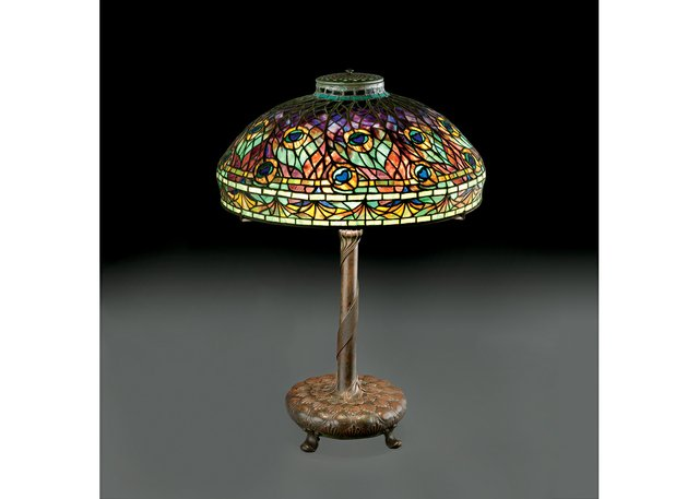 "Louis C. Tiffany, ""Peacock Table Lamp,"" about 1905"