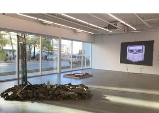 """Sovereign Intimacies,"" 2020, installation view (photo courtesy of Plug In ICA)"
