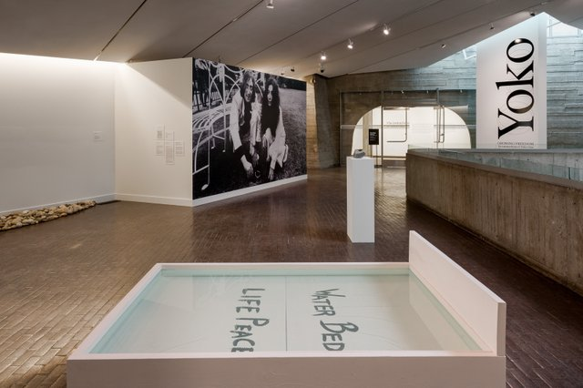 """Yoko Ono, """"Water Event,""""1971/2020, withwater sculptures byAdrian A. Stimson,""""We've Made Our Water Bed …,"""" and Kablusiak,""""Qullik Asulu Utchuklu,"""" both 2020"""