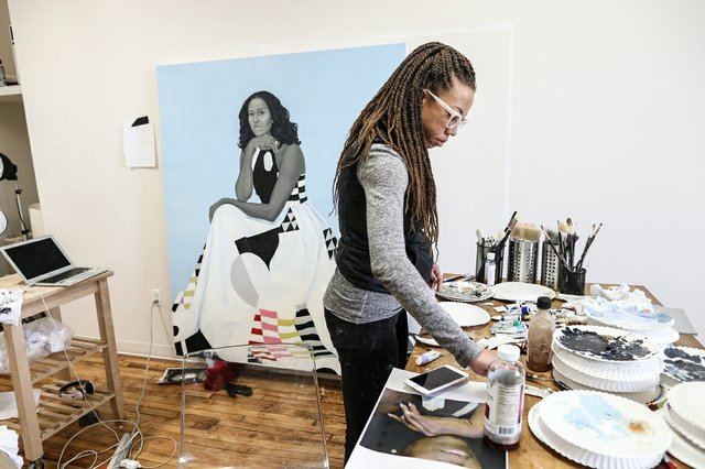 Amy Sherald, in her Baltimore studio