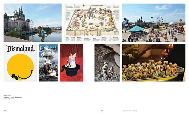 "A spread from ""A Visual Protest: The Art of Banksy,"" showing his 2015 project, ""Dismaland."""