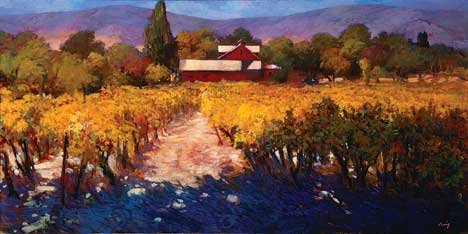 """California Vineyard with Red Barn"""