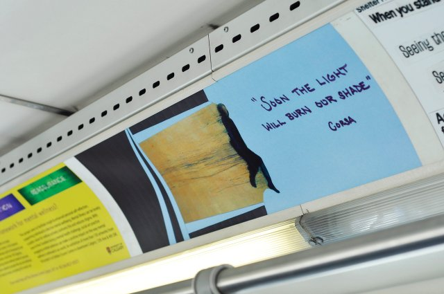 Text-based art and collage by a community participant was exhibited on buses, trains and in a 2020 exhibition at the cSPACE Arts Hub in Calgary. (photo courtesy Dick Averns)