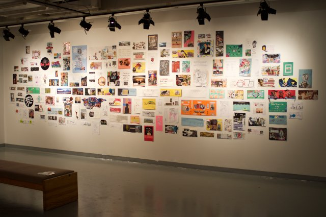 Artworks made by community participants were displayed in pop-up exhibitions, including this one at the University of Calgary curated by student Jacob Huffman. (photo by Dick Averns)
