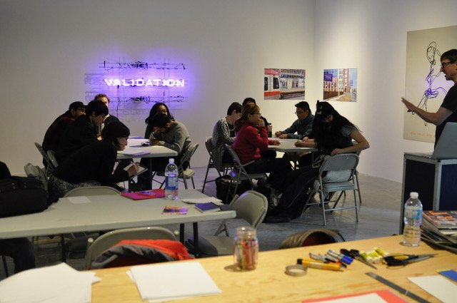 Artist Dick Averns leads a workshop in the Illingworth Kerr Gallery at the Alberta University of the Arts. (courtesy Dick Averns)