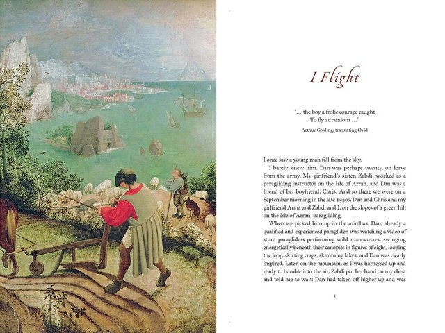 "A page-spread showing ""Landscape with the Fall of Icarus."" Although it is attributed to Pieter Bruegel the Elder, Toby Ferris downgrades it to a category of ""probable copies, misattributions and mislabellings."""