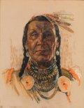 """Nicholas de Grandmaison, Indigenous Portrait (Chief Eagle Plume),"""" n.d."""