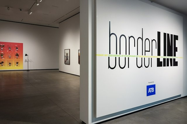 Installation view of the Borderline biennial exhibition at the Art Gallery of Alberta in Edmonton. (courtesy AGA)