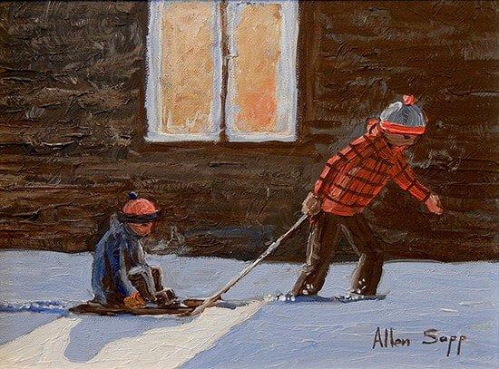 "Allen Sapp, ""Pullin little brother,"" n. d."
