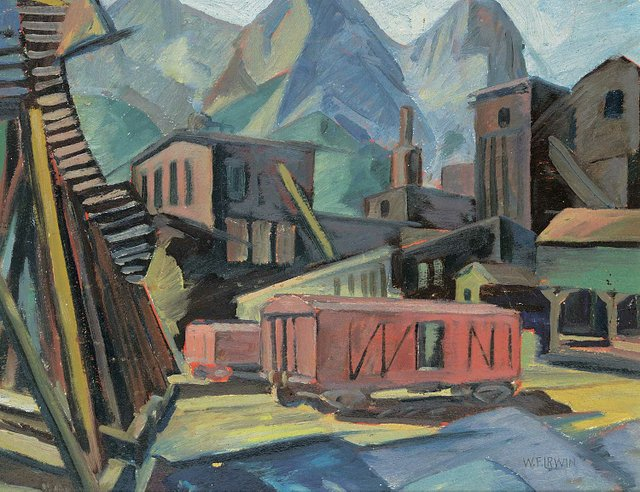 """Wesley Irwin, """"Sunday at the Canmore Mines,"""" circa 1948, oil on paper board, 13"""" x 17"""" (sold at Levis for $1,989)"""
