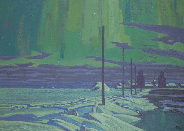 """Illingworth Kerr, """"Western Winter Night,"""" 1980, oil on canvas, 36"""" x 50"""" (sold at Levis for $52,650)"""