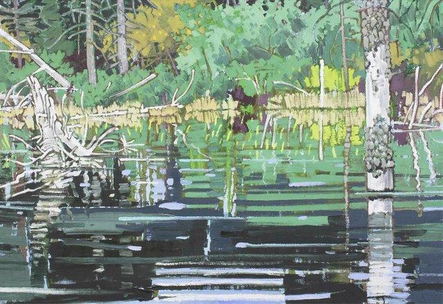 "Ted Godwin, ""Kananaskis Beaver Dam,"" 1979, oil on canvas, 33"" x 47"" (sold at Hodgins for $14,000)"