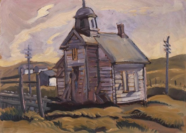 """Henry Glyde, """"Midnapore, Old Church,"""" 1944, oil on board, 10"""" x 14"""" (sold at Hodgins for $3,750)"""