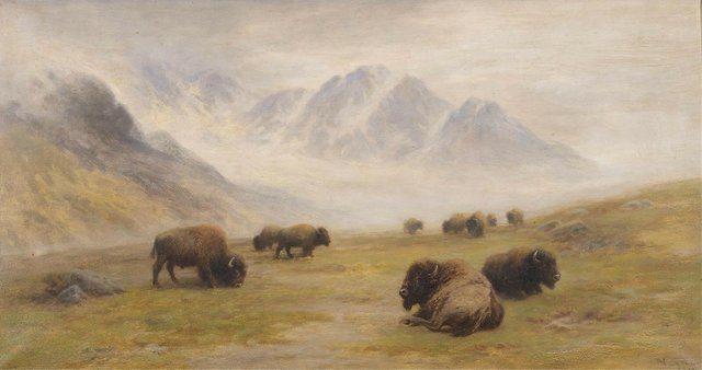 """Frederick Verner, """"Buffalo...Rocky Mountains,"""" circa 1906, oil on canvas, 19"""" x 35"""" (sold at Hodgins for $27,500)"""