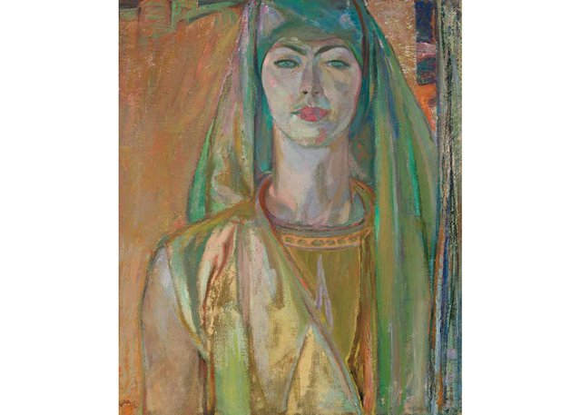 """Frederick Varley, """"Green and Gold, Portrait of Vera,"""" circa 1933-34, oil on canvas, 24"""" x 20"""" (unsold at Heffel)"""