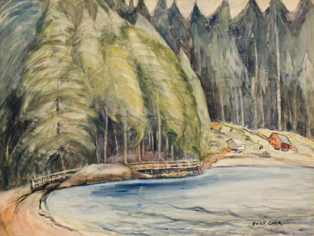 """Emily Carr, """"South Bay, Skidegate,"""" circa 1928, watercolour on paper, 22"""" x 29"""" (sold at Heffel for $811,250)"""