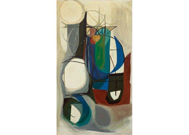 "Tom Hodgson, ""Non Objective (Bluish),"" circa 1953-54, oil on board, 42"" x 23"" (sold at Cowley Abbott for $60,000)"