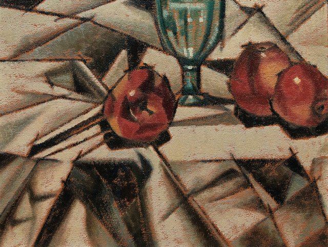 """Bertram Brooker, """"Still Life with Apples and Glass,"""" circa 1930s, oil on board, 12"""" x 15"""" (sold at Cowley Abbott for $20,400)"""