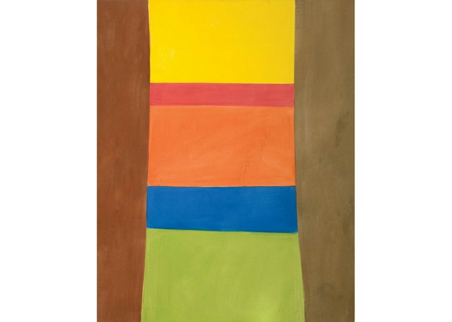 """Jack Bush, """"Column on Browns,"""" 1965, oil on canvas, 80"""" x 64"""" (sold at Cowley Abbott for $870,000)"""