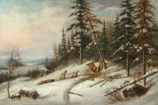 """Cornelius Krieghoff, """"Indian Trappers, Lake St. Charles,"""" 1854, oil on canvas, 12"""" x 18"""" (sold at Cowley Abbott for $31,500)"""