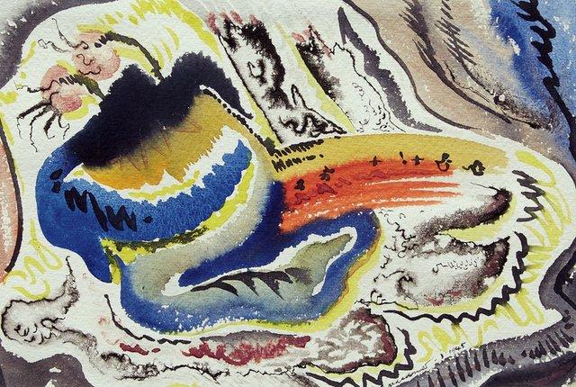 "Jock Macdonald, ""New Fruit,"" 1946, watercolour, 7"" x 10"" (sold at Cowley Abbott for $7,800)"