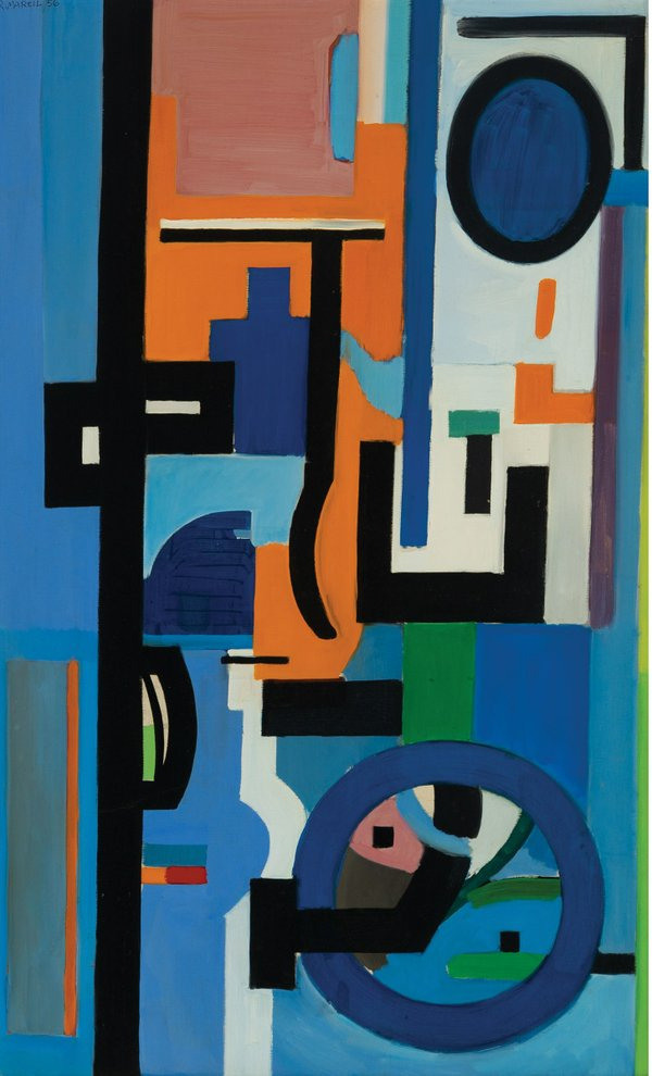 """René Marcil, """"Untitled,"""" 1956-58, oil on canvas, 39"""" x 24"""" (sold at Waddington's for $9,000)"""