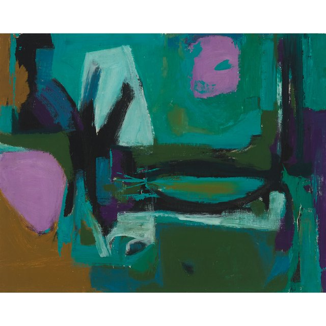"""Walter Yarwood, """"Landscape,"""" circa 1958, oil on canvas board, 24"""" x 30"""" (sold at Waddington's for $36,000)"""