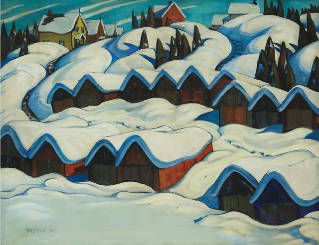 """George Pepper, """"Boathouses on the Ottawa River,"""" 1930, oil on canvas, 28"""" x 36"""" (sold at Waddington's for $108,000)"""