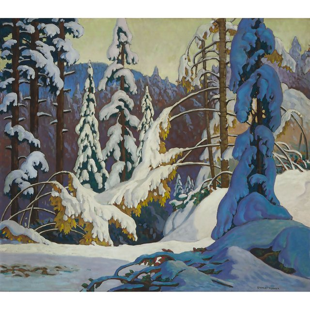 """Stanley Turner, """"Heavy Snow,"""" circa 1920s, oil on canvas, 28"""" x 32"""" (sold at Waddington's for $38,400)"""