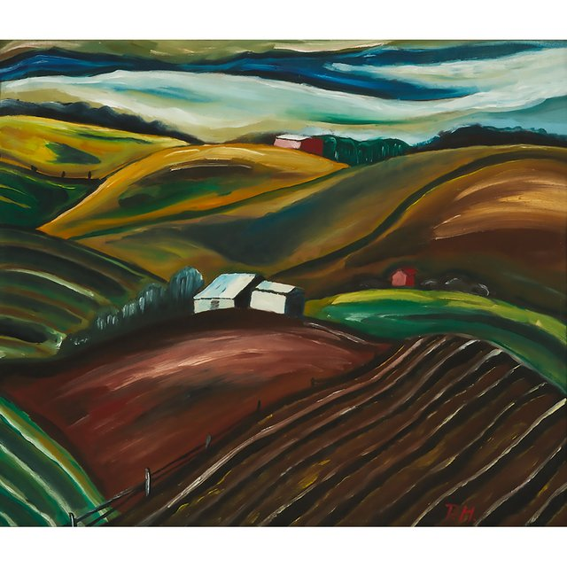 """Prudence Heward, """"Untitled (Eastern Townships),"""" circa 1935, oil on panel, 12"""" x 14"""" (sold at Waddington's for $30,000)"""