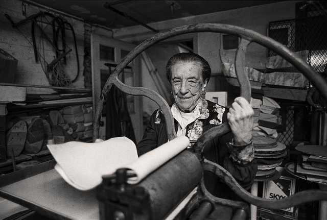 "Mathias Johansson, ""Louise Bourgeois at the printing press in the lower level of her home and studio on 20th Street, New York,"" 1995"