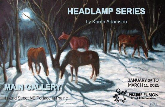 "Karen Adamson, ""Headlamp Series: Darkness & Light - Horses & Trees,"" 2021"