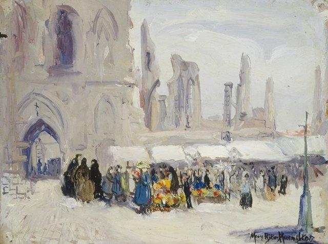"""Mary Riter Hamilton,""""Cloth Hall, Ypres – Market Day,"""" 1920"""