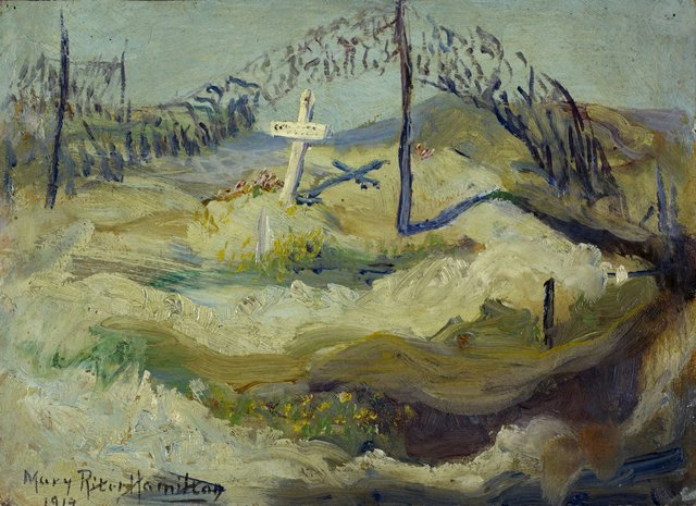 """Mary Riter Hamilton,""""Isolated Grave and Camouflage, Vimy Ridge,""""May 1919"""
