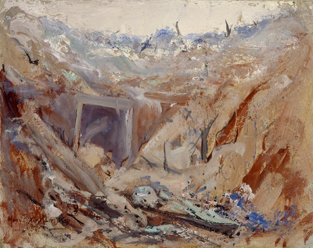 """Mary Riter Hamilton,""""Dug Out on the Somme,"""" 1919"""
