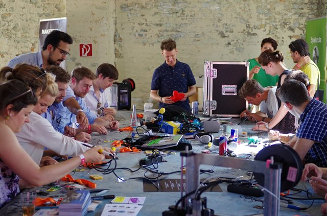 A work session at Fab Lab, an open digital fabrication studio in Berlin. (courtesy Fab Lab, Berlin)