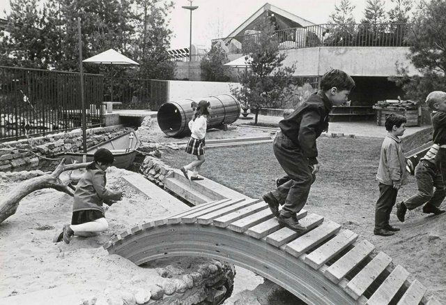 Landscape architect Cornelia Hahn Oberlander designed theChildren's Creative Centre Playground at theCanadianPavilion ofExpo '67 inMontreal. (collection of Canadian Centre for Architecture)