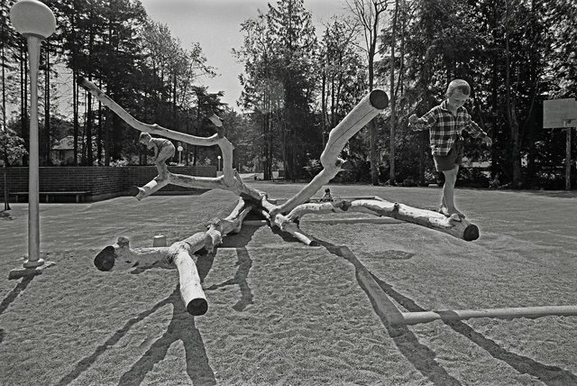 Landscape architect Cornelia Hahn Oberlander designed the North Shore Neighbourhood House Playground inNorth Vancouver in1968.(collection of Canadian Centre for Architecture; photo by Selwyn Pullan)