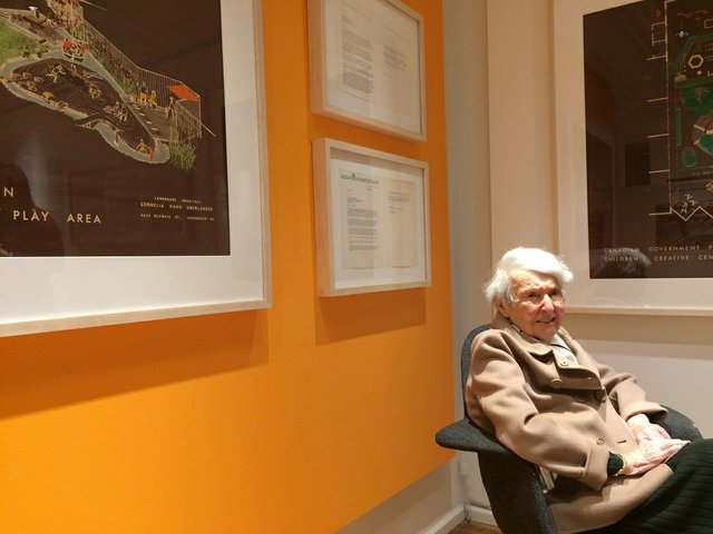 """Cornelia Hahn Oberlander attends the preview of """"Genius Loci""""inJanuary. (courtesy West Vancouver Art Museum)"""