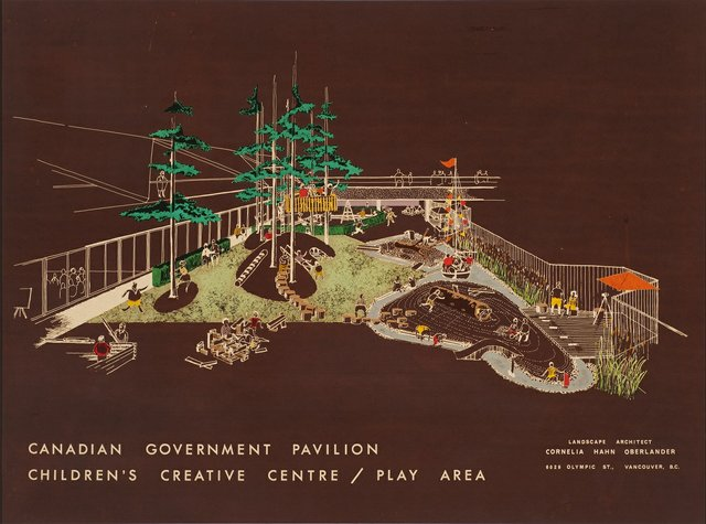 """Cornelia Hahn Oberlander, """"Perspective view for Children's Creative Centre Playground, Canadian Federal Pavilion, Expo '67, Montreal, Quebec,"""" circa1967"""